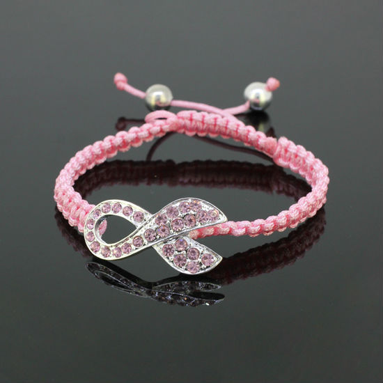 Hot 10pcs/Lot Fashion Pink Crystal Silver Ribbon Connector Bead Breast Cancer Awareness Adjustable Pink Macrame Rope Bracelets