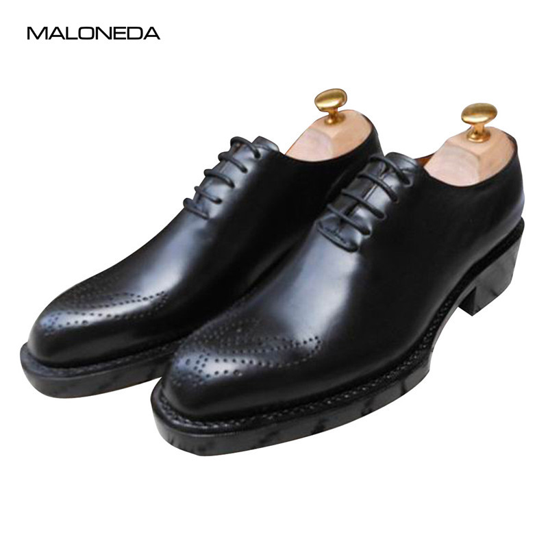MALONEDA Double Layer Sole Genuine Leather Handmade Goodyear Oxfords Dress Shoes for Men maloneda custom men s wedding party shoes matching suits handmade genuine leather brogue dress shoes with goodyear welted
