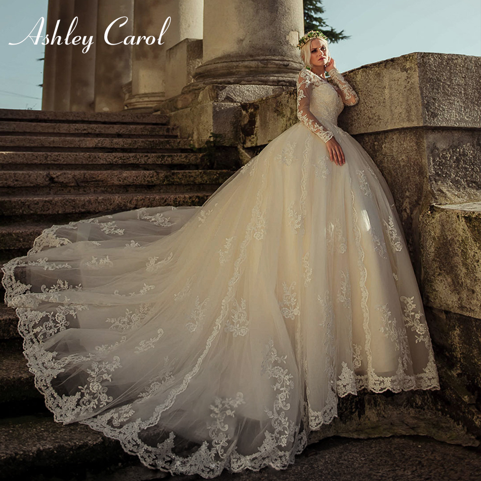 Ashley Carol Sexy Scoop Long Sleeve Princess Ball Gown Wedding Dress 2019 New Vintage Bride Dress Tulle Luxury Wedding Gowns