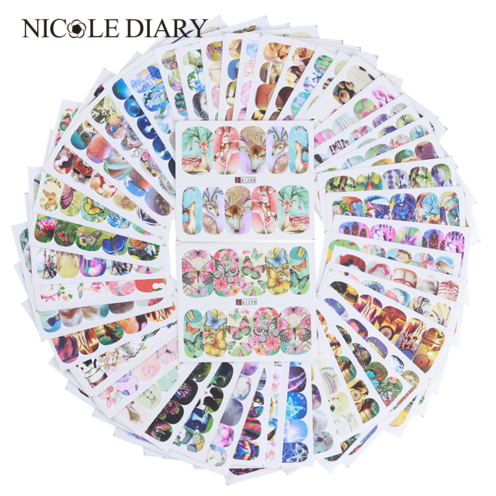 50 Sheets Animal Flower Water Decal Nail Art Transfer Sticker Butterfly Cat Dog Dream Catcher Stickers  Tips Decoration