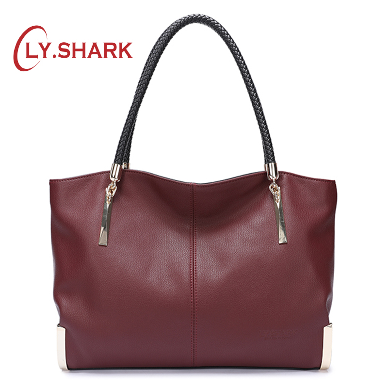 LY.SHARK Luxury Handbags Women Bags Designer Shoulder Bag Female Bag Ladies Genuine Leather Bags For Women 2019 Soft Leather Big-in Shoulder Bags from Luggage & Bags    1