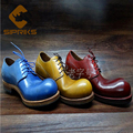 Luxury Brand Mens Goodyear Shoes Big Roud Toe Cowboy Shoes Blue Yellow Elegant Mens Dress Shoes Cool Mens Derby Shoes Italian