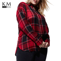 kissmilk 2018 Plus Size Sexy Plaid Backless lace up Women Blouses Turn down Collar Bow Female Big Size Lady Casual Shirts Tops