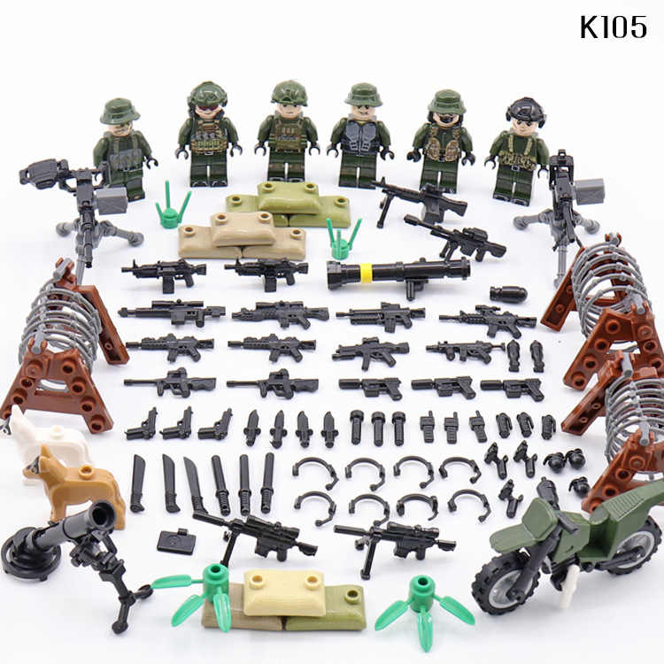 Special Forces Legoinglys Military Minifigure Ww2 Navy Seals Team Landing War Building Blocks Mini Figures Weapons Gun Toys Gift