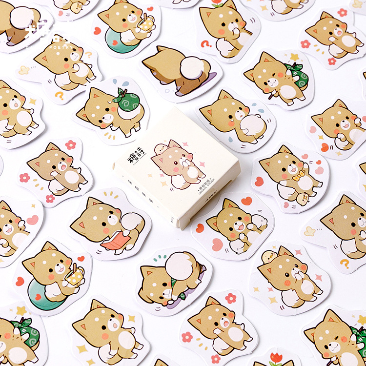45pcs/pack Cute Shiba Dog Label Stickers Decorative Stationery Stickers Scrapbooking Diy Stickers Diary Album Stick Label
