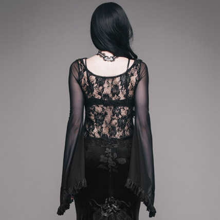Gothic shirt Sleeve Women Floral Lace Black Long T Hollow T Sexy Tees O Pattern Fashion neck Devil Tops Flare New shirts Out EqtxwZaP