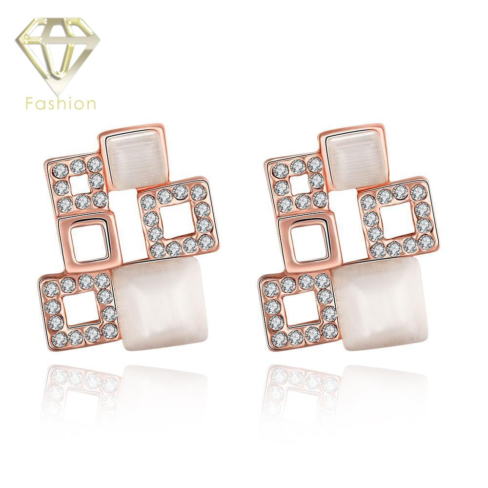 Trendy Geometric Design Multi Squares Stud Earrings With Modern Opal  Zirconia Fashion Rose Gold Color Earings Jewelry For Women