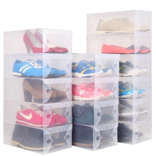 10pcs Lot Clear Plastic Shoes Storage Box Foldable Drawer Type For Children Women Men