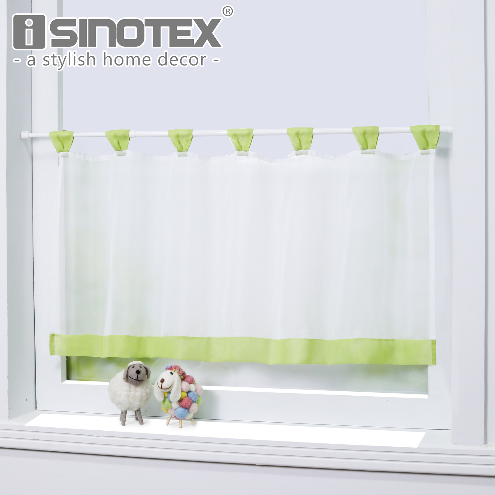 Half Window Kitchen Coffee Curtain Solid Short Panel Half Curtain 100% Polyester Fabric Tab Top Curtain Home Decor