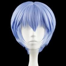 EVA Ayanami Rei Short Light Blue Heat Resistant Hair  Cosplay Costume Wig + Free Wig Cap