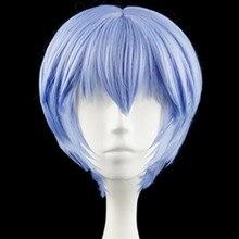 EVA Ayanami Rei kısa açık mavi isıya dayanıklı saç Cosplay kostüm peruk + ücretsiz peruk kap