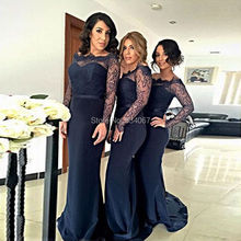 vestido madrinha 2017 Mermaid Bridesmaid Dresses Sheer Lace Long Sleeves Wedding Party Dress Black Satin Bride Maid Gown Elegant