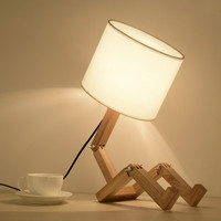 Nordic solid wood led small desk lamp students learn eye protection desk lamp bedside nursing nightlight robot LM5081020
