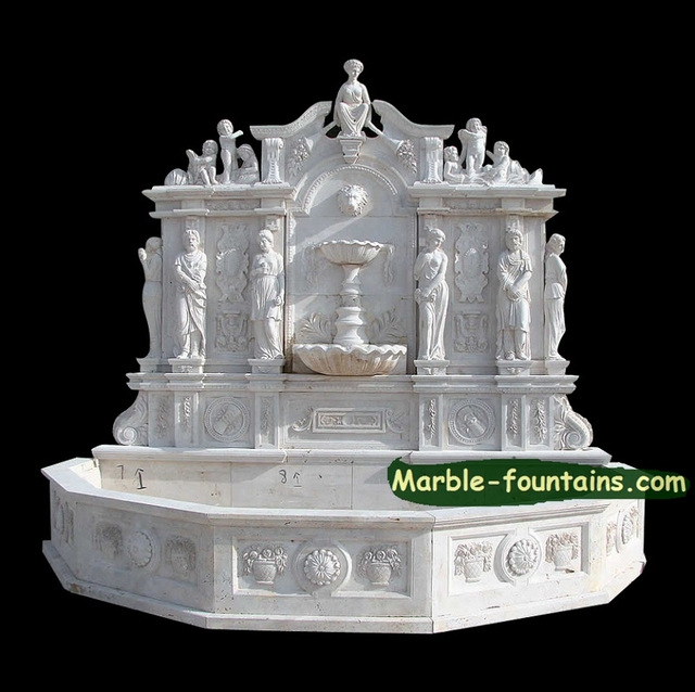 Large Wall Fountain Large Home Garden Wall Fountains With Statuarys White Marble Sculpted Wall Fountains With