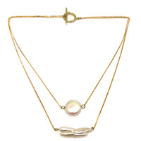 16-17 zoll Gelbes Gold Füllte Draht AAA 15-25mm Natürliche Weiß Münze und Biwa Perlenkette mit Knebelverschluss