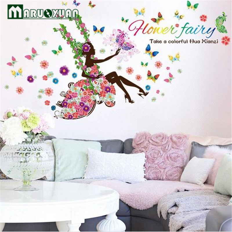 Maruoxuan Removable Colorful Flower Fairy Girl Swing On The Tree