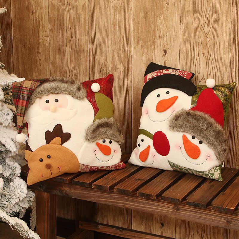 Nuevas almohadas de Navidad Santa Claus muñeco de nieve estampado Dyeing Festival sofá hogar Decoración dormitorio Navidad cojín cubierta niños regalo
