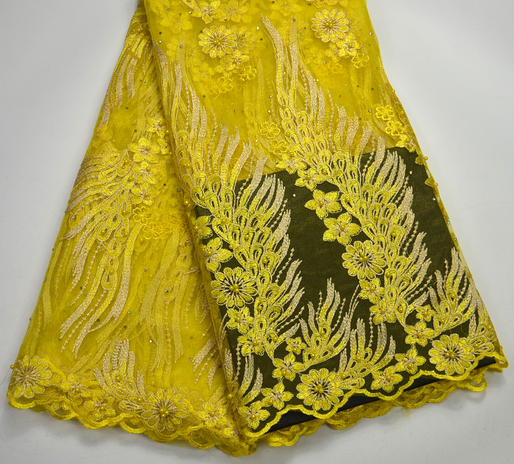 Latest Excellent High Quality Yellow French Net lace African Traditional Wedding lace fabrics yellow French lace 3D FlowersLatest Excellent High Quality Yellow French Net lace African Traditional Wedding lace fabrics yellow French lace 3D Flowers