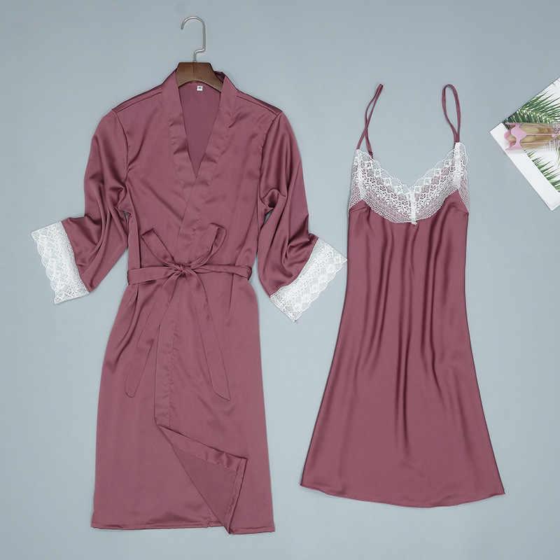Повседневный женский летний ночной халат-Пижама, комплект из 2 предметов, сексуальный женский топ на бретелях, пижама, домашняя ночная рубашка, халат для сна, банное платье