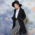 Европейский Стиль Осень Весна Двубортный Черный Пальто Женщин Манто Femme Длинные Плюс Размер Женщин Slim Fit Тренчи
