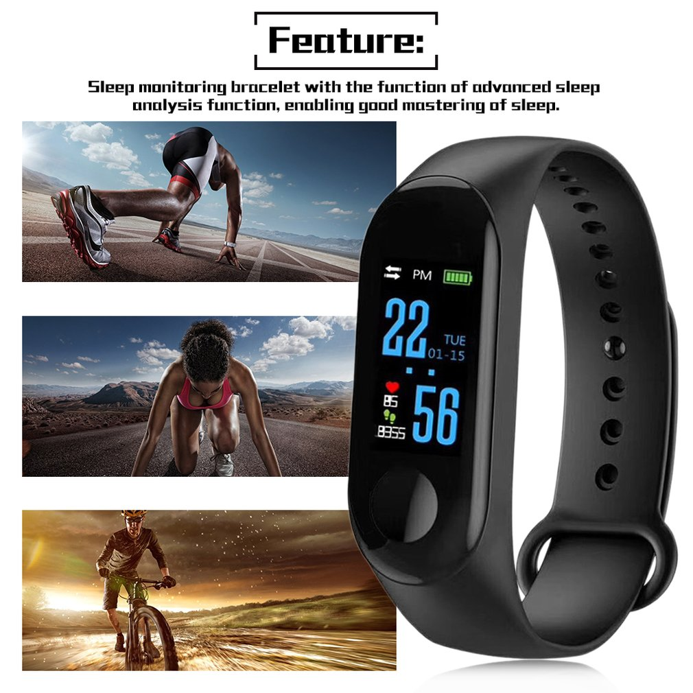 M3 Smart Bracelet Color Screen IP68 Waterproof Heart Rate Blood Pressure Monitor Replaceable Watch For Android IOS