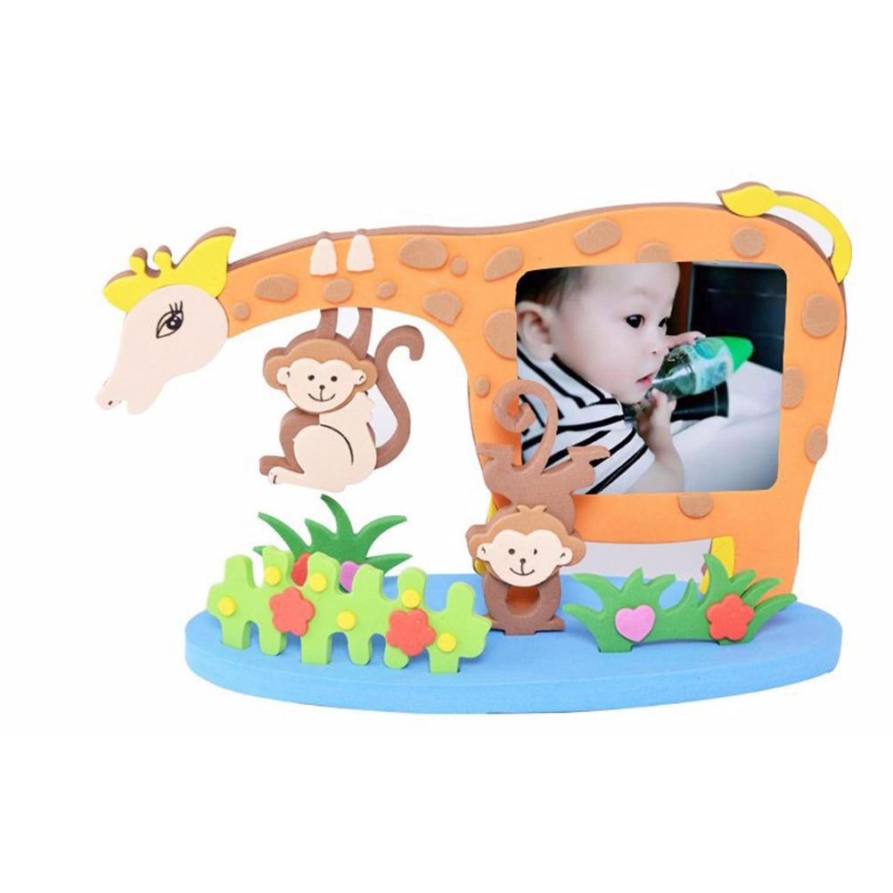 2017 New Kids Child Creative Activity DIY Toys Frame Foam Craft Kits Easy Crafts EVA Sticky Sticker Animal Photo Frames