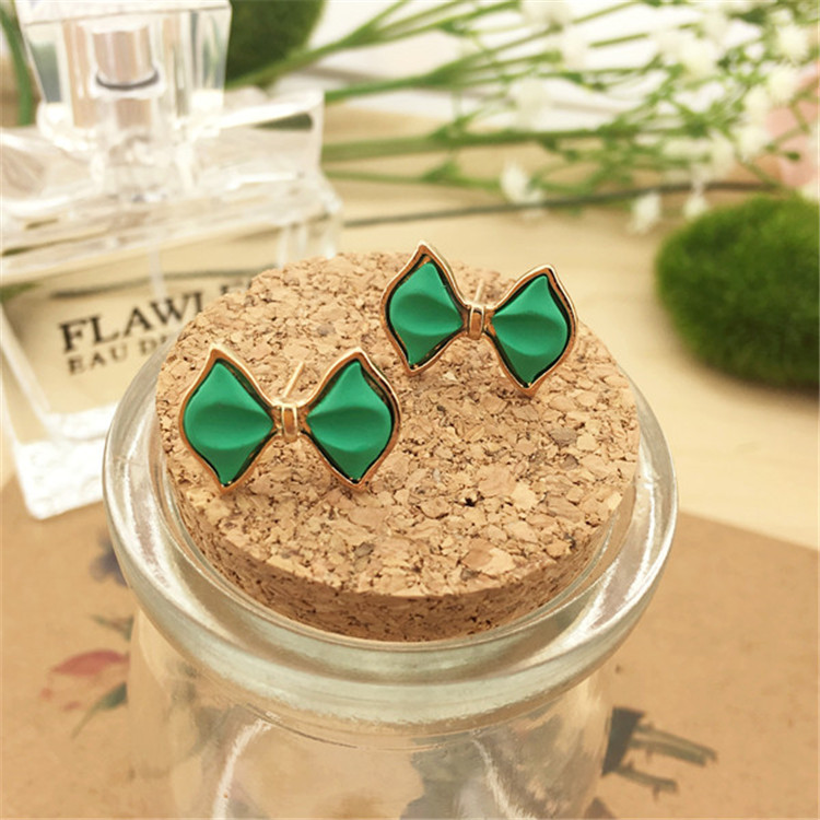Stud Earrings Earrings Amicable 2016 Time-limited Pearl Jewelry Bowknot Women Trendy Brinco Brincos Golden Bow Rectangular Box Stud Earrings To Have A Unique National Style