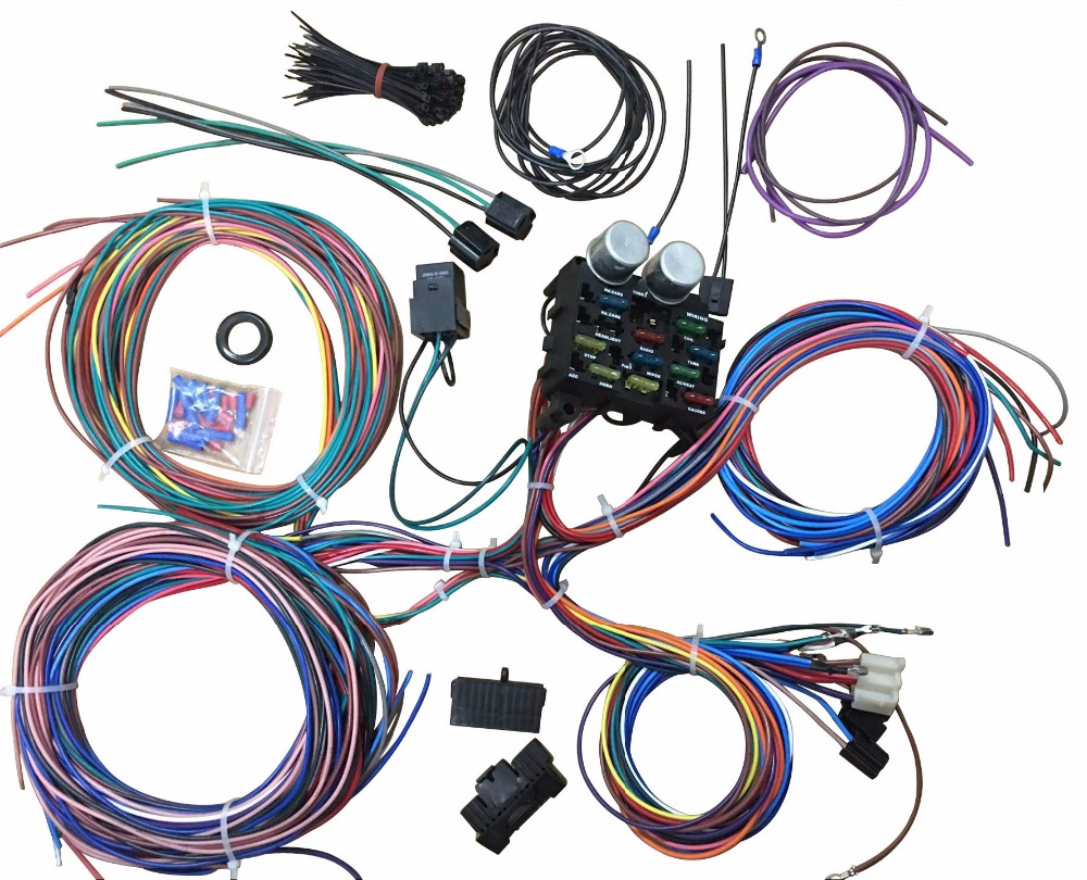 Buy 12 Circuit Wiring Harness For Chevy Mopar Ford Wire Street Hot Rod With Color Wires From Reliable Fuses Suppliers On Shop2185080 Store
