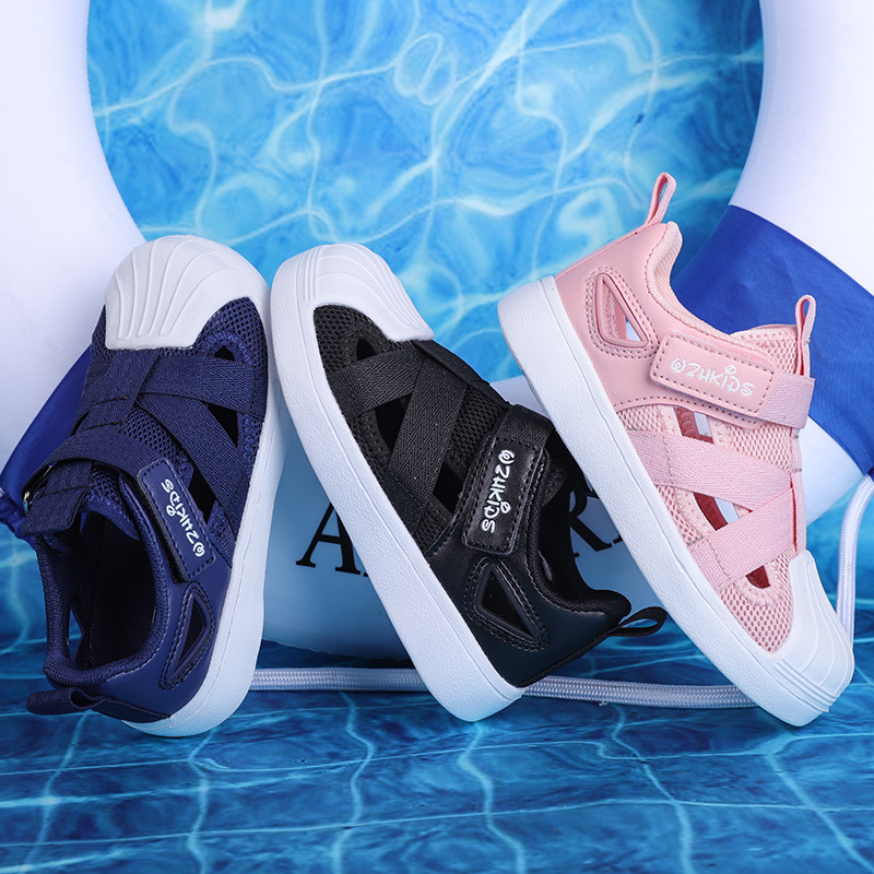 2019 Summer New Children's Shoes Fashion Breathable Shell Baotou Sports Campus Students Running Shoes