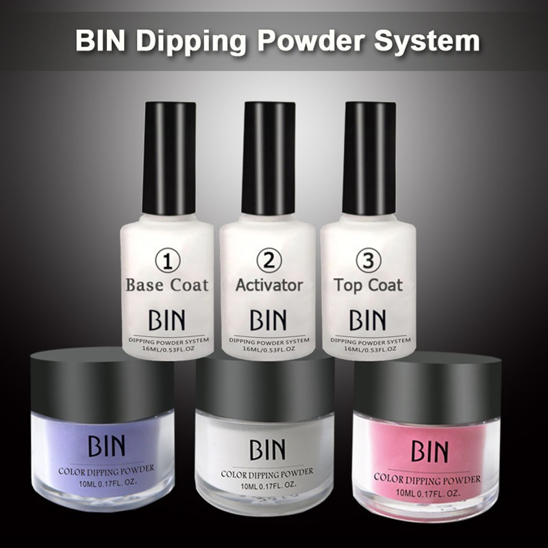6in1 Dipping Powder Top Base Coat Activator Kit Dip System Without Lamp Cure Natural Dry Nail Art Decorations Nail Glitter Salon