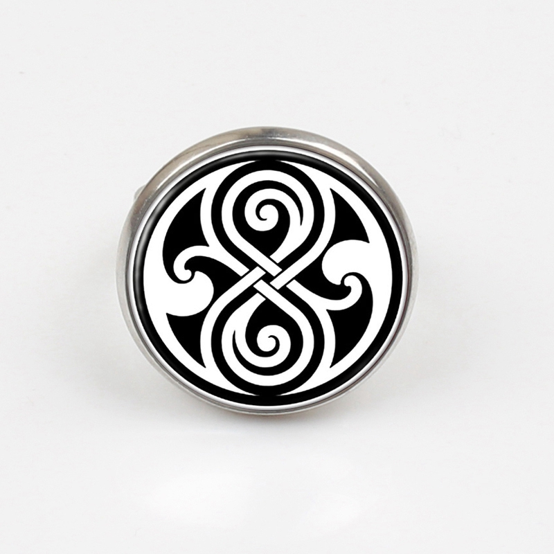 GDRGYB 2019 Round Glass ring Doctor Who Time Lord Seal ring Time Lord Gallifreyan Glass ring Gift in Rings from Jewelry Accessories
