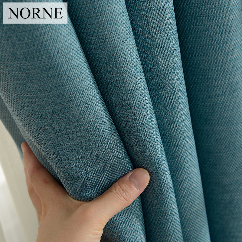 NORNE Modern Style Solid Color Cotton and Linen Thermal Insulated Curtains Blackout Curtain Drape For Living