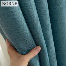 NORNE Modern Style Solid Color Cotton and Linen Thermal Insulated Curtains Blackout Curtain Drape For Living Room Brdroom Window norne hollow star thermal insulated blackout curtains for living room bedroom window curtain blinds stitched with white voile