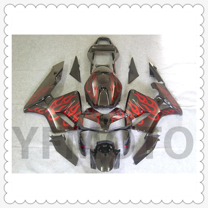 Motorcycle Red Flames Black Full Fairing KIT For H O N D A CBR600RR CBR 600RR CBR600 RR 2003 2004 ABS Plastic +3 Gift