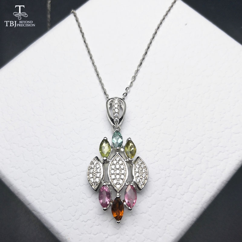 TBJ ,100% natural tourmaline gemstone pendant necklace in 925 sterling silver jewelry for girls with jewelry gift boxTBJ ,100% natural tourmaline gemstone pendant necklace in 925 sterling silver jewelry for girls with jewelry gift box