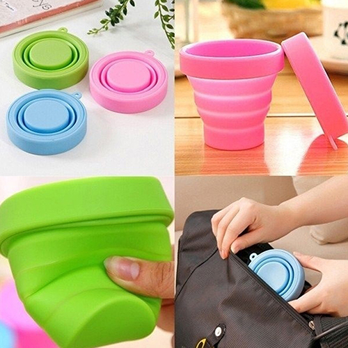 Portable Home Travel Camping Silicone Telescopic Drinking Collapsible Folding Bottle
