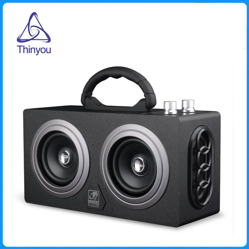 Thinyou Wooden Wireless AUX Bluetooth Box Speaker 10W *2 Mini Portable Dual Loudspeakers Outdoor Speakers PC altavoz 100% original sardine sdy 019 altavoz bluetooth speaker wireless hifi portable subwoofer speakers music sound box with fm radio