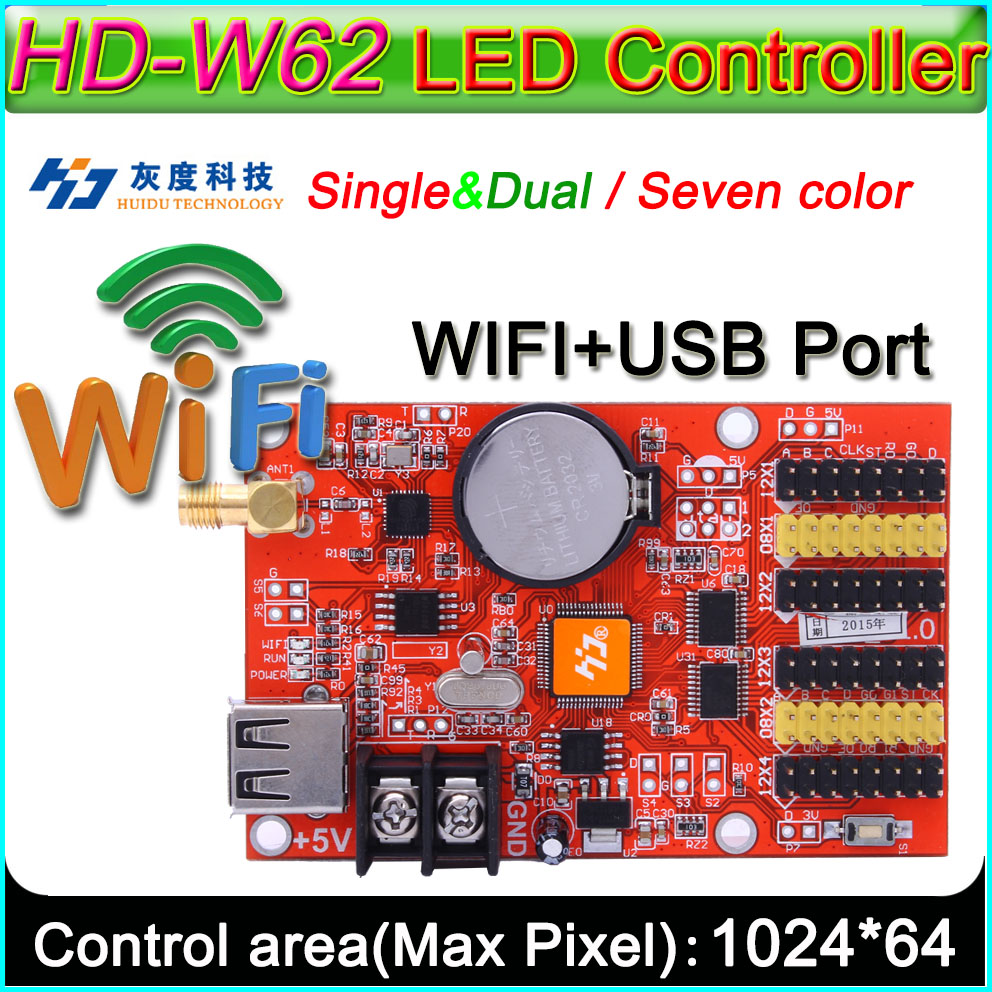 HD -W62 LED Display  Controller, Single&double Color P10 LED Sign Control Card,U-Disk And WIFI Wireless Control