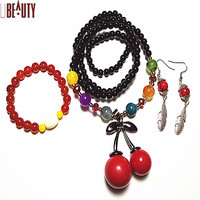 Lucky Crystal Gem Stone Jewelry Sets Accessories Bracelet Dangle Nacklace Earrings Drop for Women Gift with Auspicious Best159