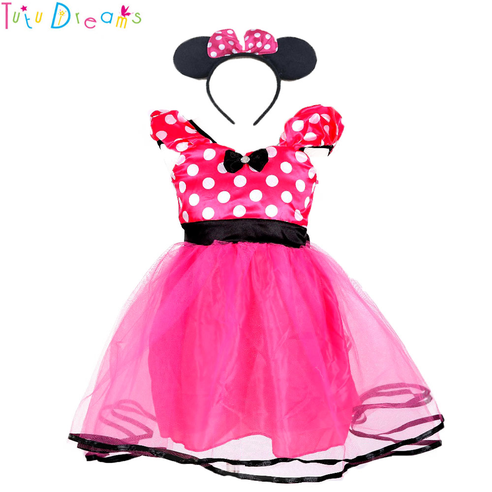 Mother & Kids Hot Pink Dot Kids Dresses Girl First Birthday Halloween Cosplay Minnie Costume Dress Vestidos Children Clothes With Headband Pretty And Colorful Dresses