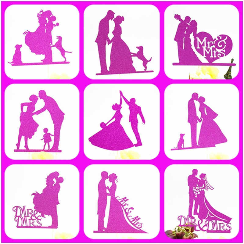 Bride And Groom Cake Topper Party Supplies Mr Mrs Wedding Cake Topper Weeding Decoration Party Favors Pink Wedding Cake Topper
