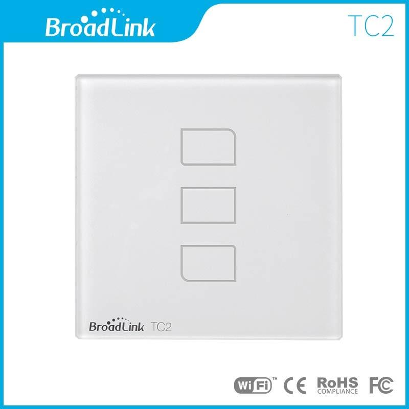 imágenes para Broadlink tc2 3 gang estándar de la ue, interruptor de pared lámparas de luz remota a través de teléfono móvil broadlink rm pro, cristal de vidrio, domotica inteligente