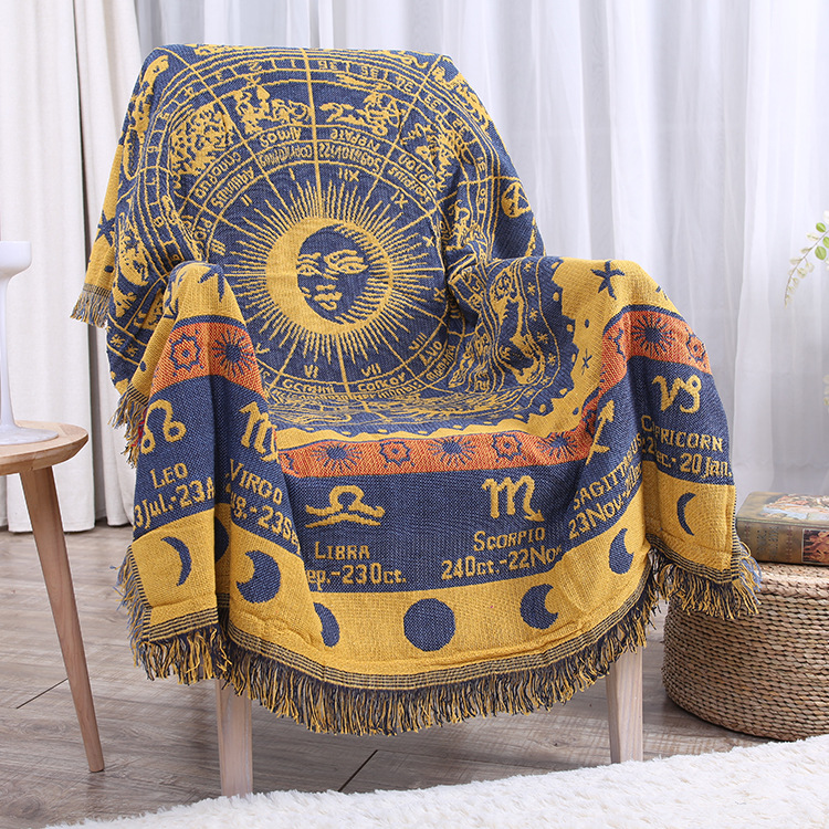 Twelve constellations knitted Blanket Cotton Jacquard Sofa Cover Blankets  Vintage Home Decor Tapestry Table Cloth 180x230cm  new knitted blankets towels luxury hotels home sofa wool blanket europe leisure jacquard cotton blanket decorative bedding