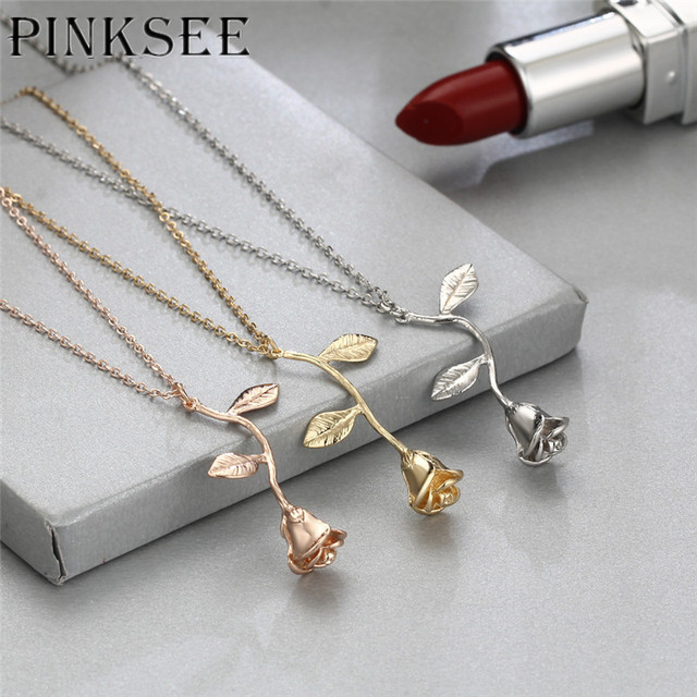 PINKSEE Exquisite Tricolor Rose Pendant Necklace Send Girlfriend Valentine   s Day Gift Jewelry Best Party Gifts 45856f9b4f3a