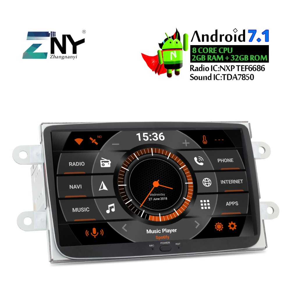 8 HD Android 7.1 Car Stereo For Renault Duster Dacia Sandero Logan Dokker 1 Din Auto Radio Multimedia GPS GLONASS Navigation