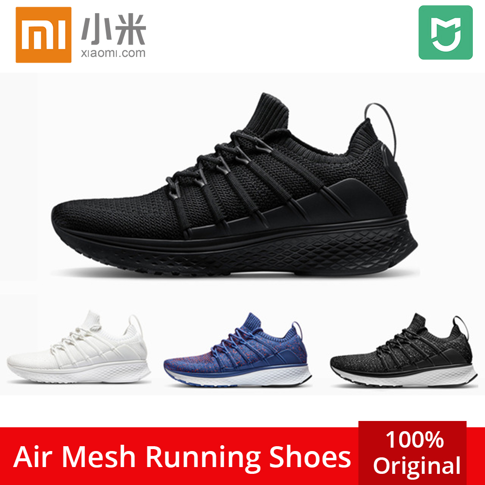 Upgrade Original Xiaomi Mijia Men Smart Outdoor Sports Running Shoes Fishbone Lock System Elastic Knitting Vamp Male Mi Sneakers(China)