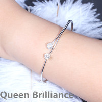 Queen Brilliance 1 6ctw Lab Grown Moissanite Diamond Bangles Bracelets For Women Genuine 925 Sterling Silver