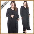 2017 Черные Женщины Мусульманское Платье С Длинным Рукавом Раффлед Плюс Размер 8XL Платье Дубай кафтан Абая jalabiya исламская женская одежда халат