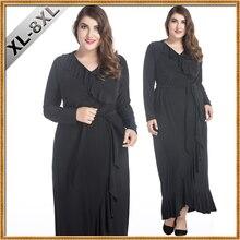 2018 Black Women Muslim Dress Long Sleeve Ruffled Plus Size 8XL Dubai Dress Abaya jalabiya islamic women clothing robe kaftan
