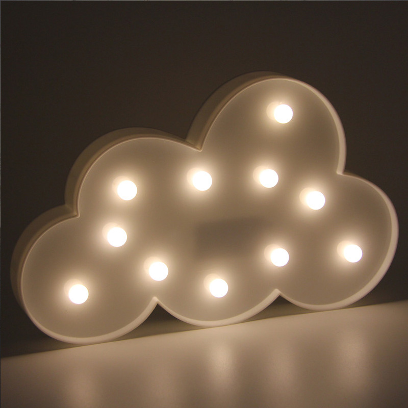 portable novelty cloud childrens bedroom nursery night light cute 11 leds 3d led marquee battery operated white letter lamp